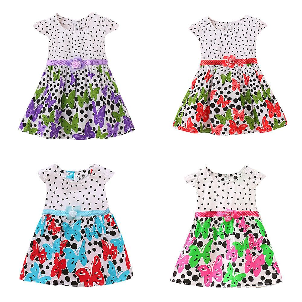 Fruit Striped Print Bowknot Strap Princess Casual Clothes Todaies Newborn Baby Girls Dresses