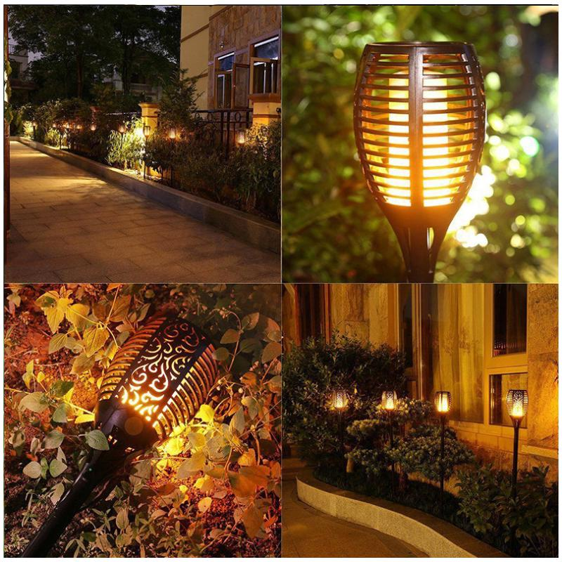 51 LED Solar Flame Flickering Lantern Light Outdoor Landscape Garden Decor Lamp