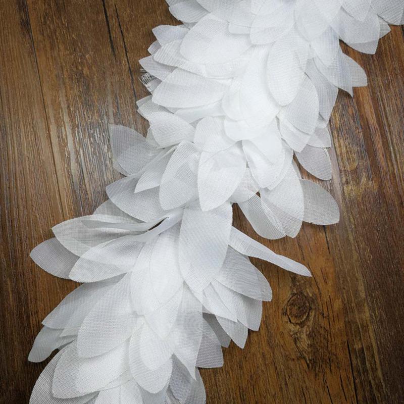 1 yard black chiffon leaves 3D Trim 3D ruffled chiffon leaves Lace Trimming