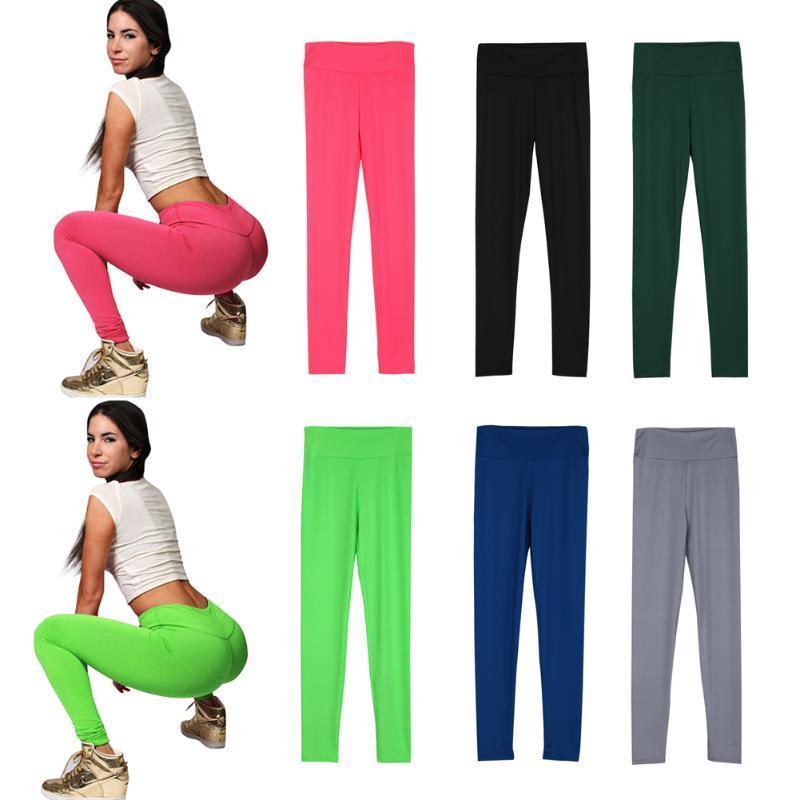 时尚女性瑜伽体育锻炼氨纶棉长裤打底裤裤子