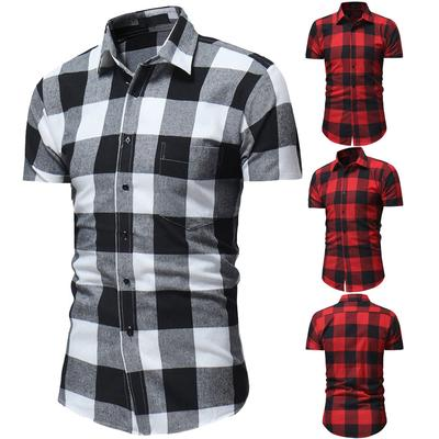 Mens Plaid Casual Button Down Short Sleeve Shirt Top Blouse