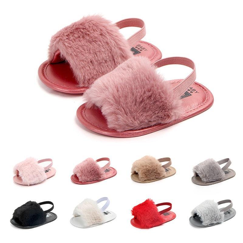 Bébé fille Kid Slide peluche sandale anti dérapant chaussures chaussures à semelle souple