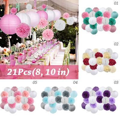 "8/"" 6Pcs Tissue Paper Pom Pom Honeycomb Ball Lantern Wedding Party Home Decor"