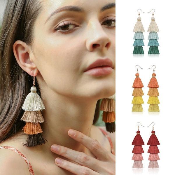Flower Fringe Dangle Earrings Women Long Tassel Hook Boho Jewelry Drop Bohemian