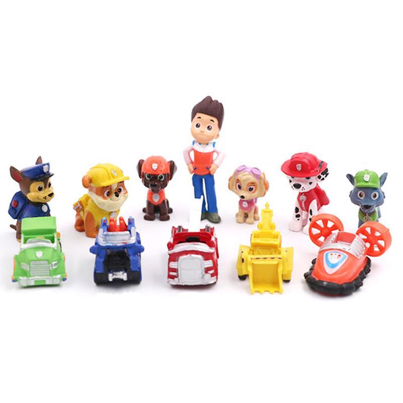 12PCs Paw Patrol Rescue Dog Figure Dolls Set Toys PVC Sliding Select Figure Gift