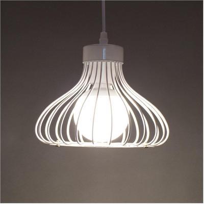 Cage Blanc Lampe Plafond Métal Led Pendentif Éclairage Lustre zMUSVpq