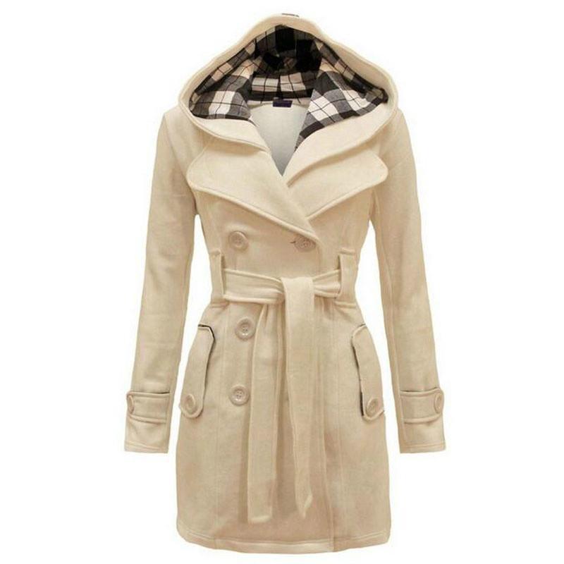 2016新时尚女装外套夹克风衣双排扣大衣连帽