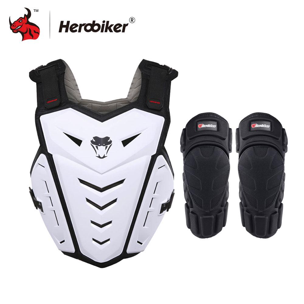 White HEROBIKER Motorcycle Riding Skiing Armor Racing Guard Motocross Body Vest Clothing