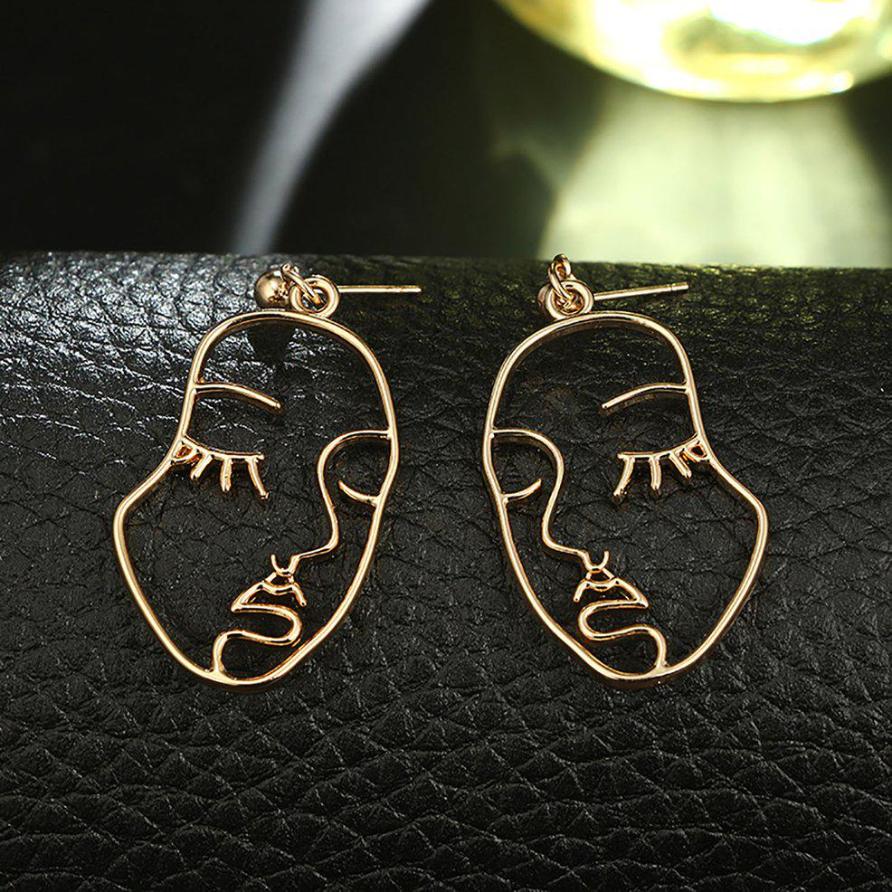 Classic Alloy Women Earrings Hollow Out Face Shaped Ear Pendants Lady Earbob LL