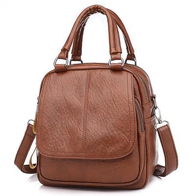 Fashion Small Backpack Women PU Leather Retro Shoulder Bag Multi-pockets Crossbody Bag Girl's Outdoor Travel Bag