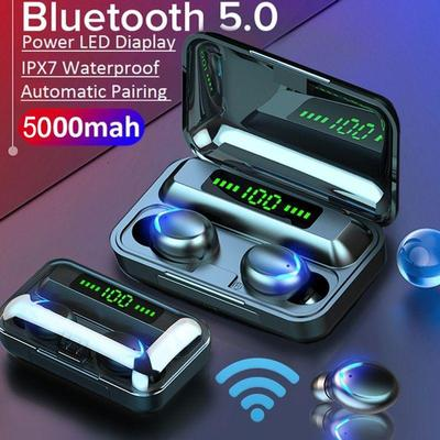 TWS Bluetooth 5.0 Wireless Earbuds 5D Stereo Headphones IPX7 Earphones With Charging Box Power Bank