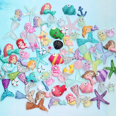 3D Mix Designs Resin  Cabochons Jewelry Mobile Phone DIY Accessories Crafts Marine Animal Cute Girls