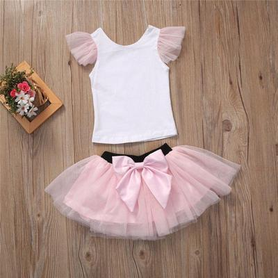 UK Cute Toddler Kids Baby Girl Clothes Flower Party Princess Tutu Dress 2PCS Set