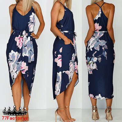 Women Summer Floral Blackless Strappy Mini Dress Holiday Beach Party Swing Dress