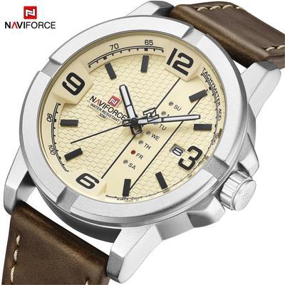 Luxury Brand NAVIFORCE Date Week Quartz Watch Men Casual Military Sports PU Leather Wristwatch Male Clock 9177