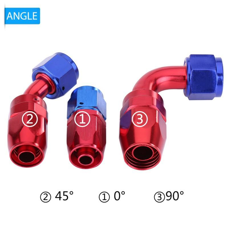 90 Degree AN8 Swivel Fuel Line Hose End Fitting Oil Cooler Adapter Blue and Red Color Anodized