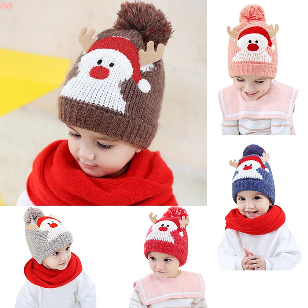 Baby Hair Ball Hat With Earmuffs Children/'s Knitted Cap Warm Winter Knit Cap W