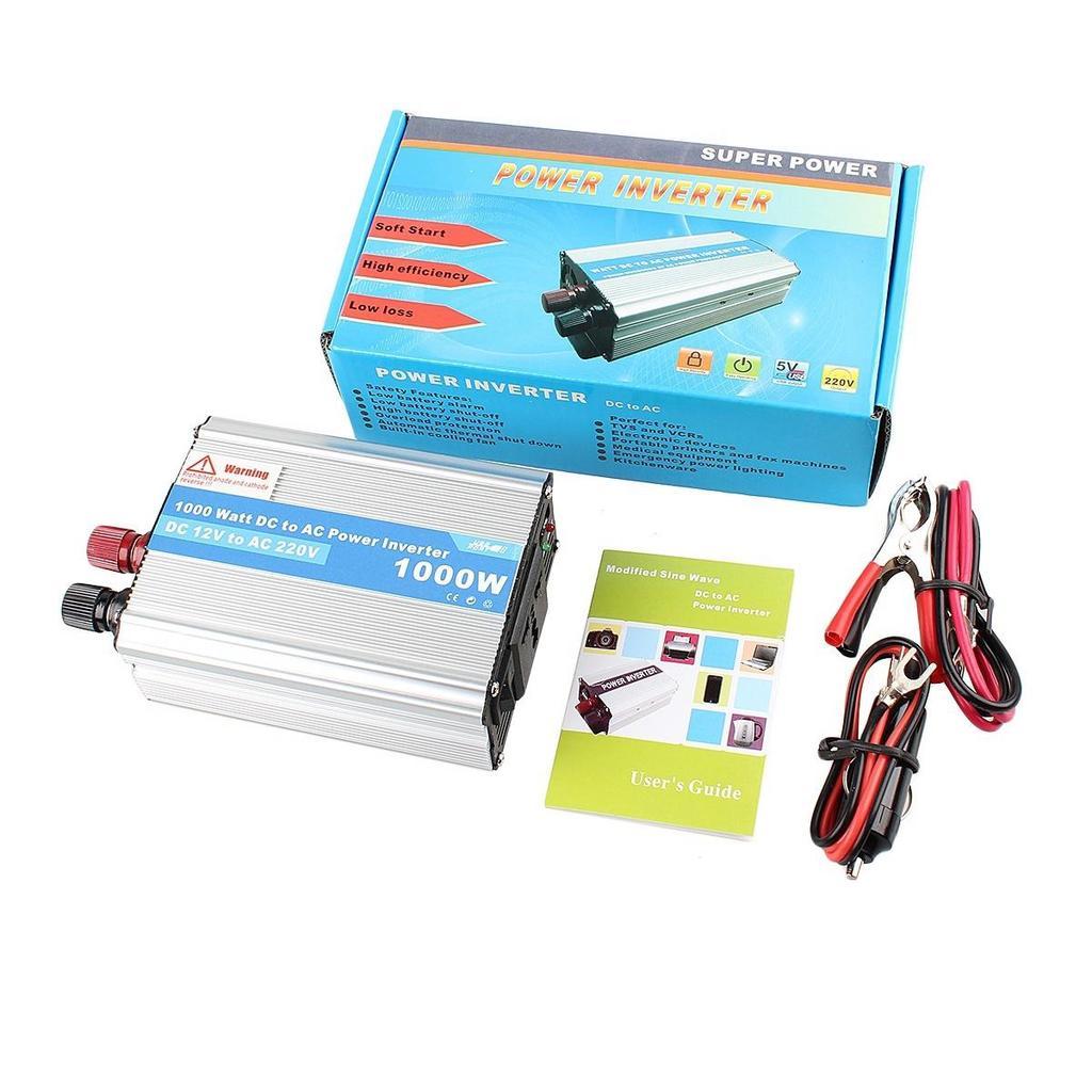 1000W Auto Power Inverter Adapter DC 12V to AC 220V For Car  Refrigerator/TV/Camera