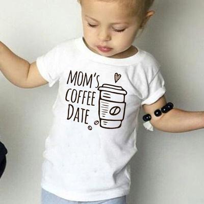 65e5f5d58 Mama's Coffee Date Kids Bluzki z krótkim rękawem Unisex Baby Cute T-shirt