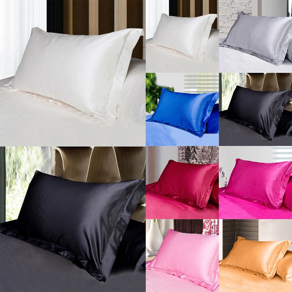 2PCS Silk Satin Pure Pillow Cases Pillowcases Cushion Cover Standard Home Decor