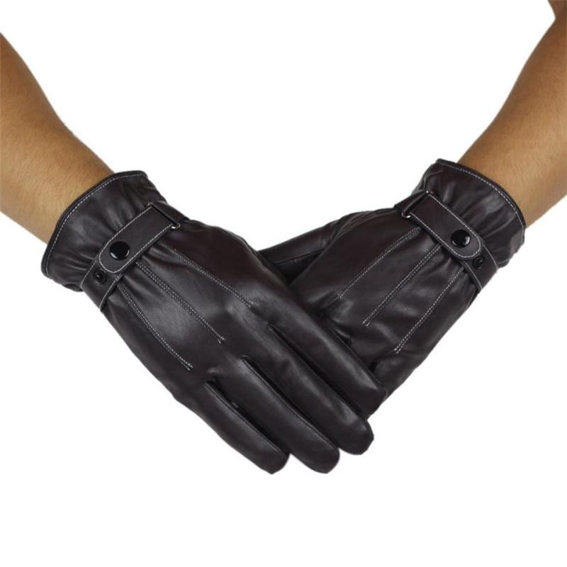 NEW Men Luxury PU Leather Winter Super Driving Cycling Sport Warm Glove Cashmere