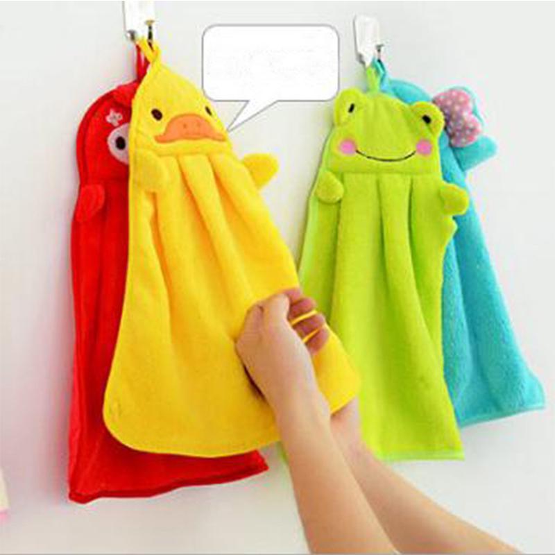 2pcs Coral Fleece Hand Towel Plush Cartoon Animal Hanging Wipe Bathing Towel