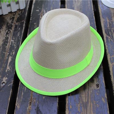 94e55d3dab1 Unisex Beach Straw Jazz Panama Trilby Fedora Hat Gangster Cap