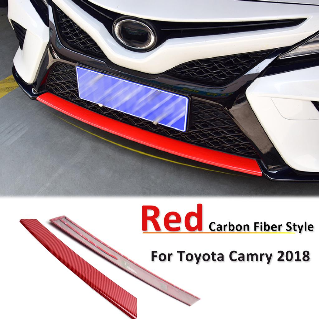 For 2018 2019 Toyota Camry Red Carbon Fiber Style Front Bumper Protector Cover