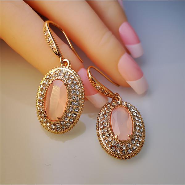 Topaz Rose Gold Hoop Earrings Birthstone Jewelry Champagne Pink Gemstone Dangle Earrings