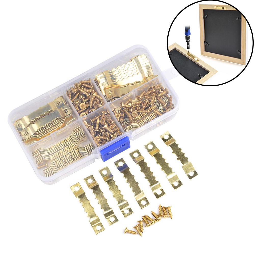 Golden No Nail Sawtooth Picture Hangers 300 Pcs 1 Inch for Frame Hanging