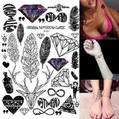 Glitter Tattoo Sticker Bird Feather Rainbow Diamond Body Art Temporary Tattoo Stickers 21x15cm Buy At A Low Prices On Joom E Commerce Platform