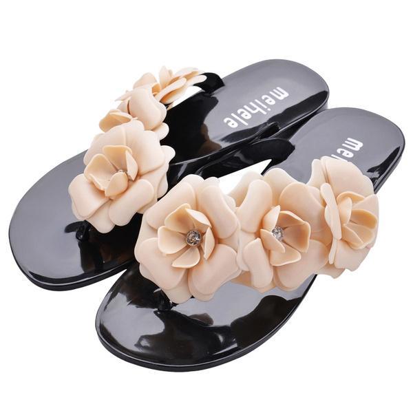 7999d04a1a68f8 Summer Sweet Girls Slippers Camellia Flower Women Sandals Flat Flip ...
