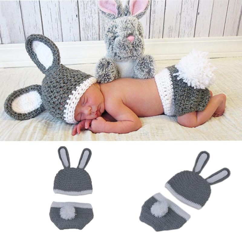 Bebé recién nacido niño niña 0-6 M Pascua conejo sombrero punto ...