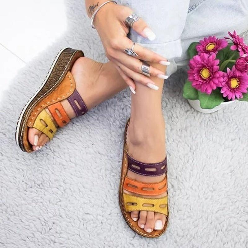 Летние тапочки женщин низкие каблуки сандалии Открыть носок Открытый Тапочки Слайды Гладиатор Клин фото