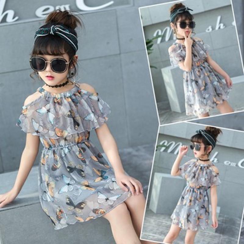 Детская мода лук печати платье девушка повседневные с недоуздок плечо выше колен Платья фото