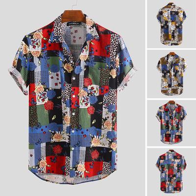Mens Print Hawaiian Breathable Casual Short Sleeve Button Down Loose Shirts Fashion Summer Beach Tees Tops