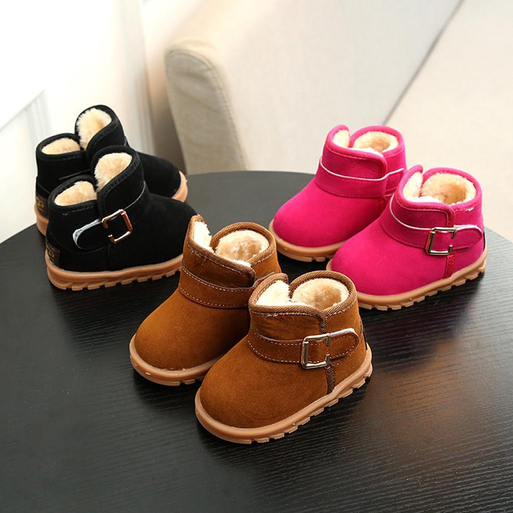 Kids Girl Boy Winter Snow Boot Thicken Fur Ankle Boots Children Baby Warm Shoes