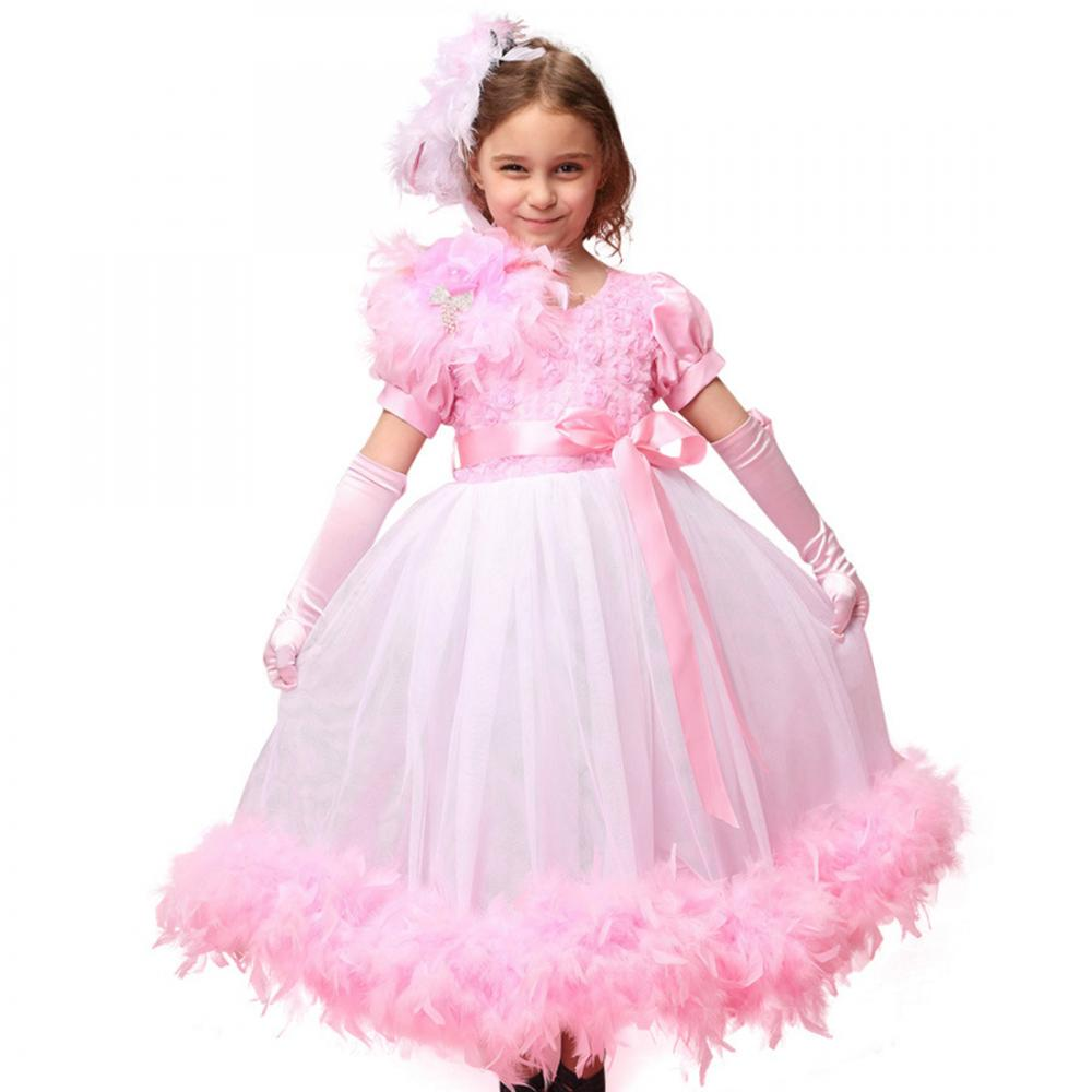 Princesa de plumas pastel vestidos niños niñas linterna manga ...