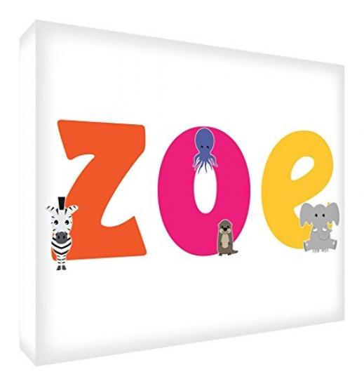 30 x 40 x 4 cm, Medium Feel Good Art LHV-Zoe Gallery Wrapped Nursery Box Canvas with Solid Front Panel