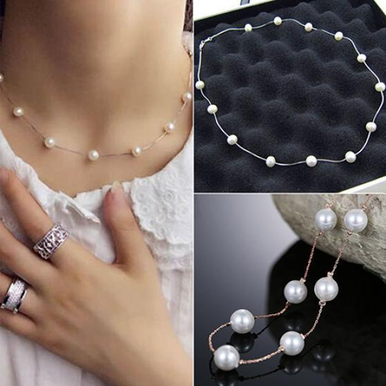Romantic Jewelery Elegant Leaves Pendant Clavicle Chain Necklace Pearl