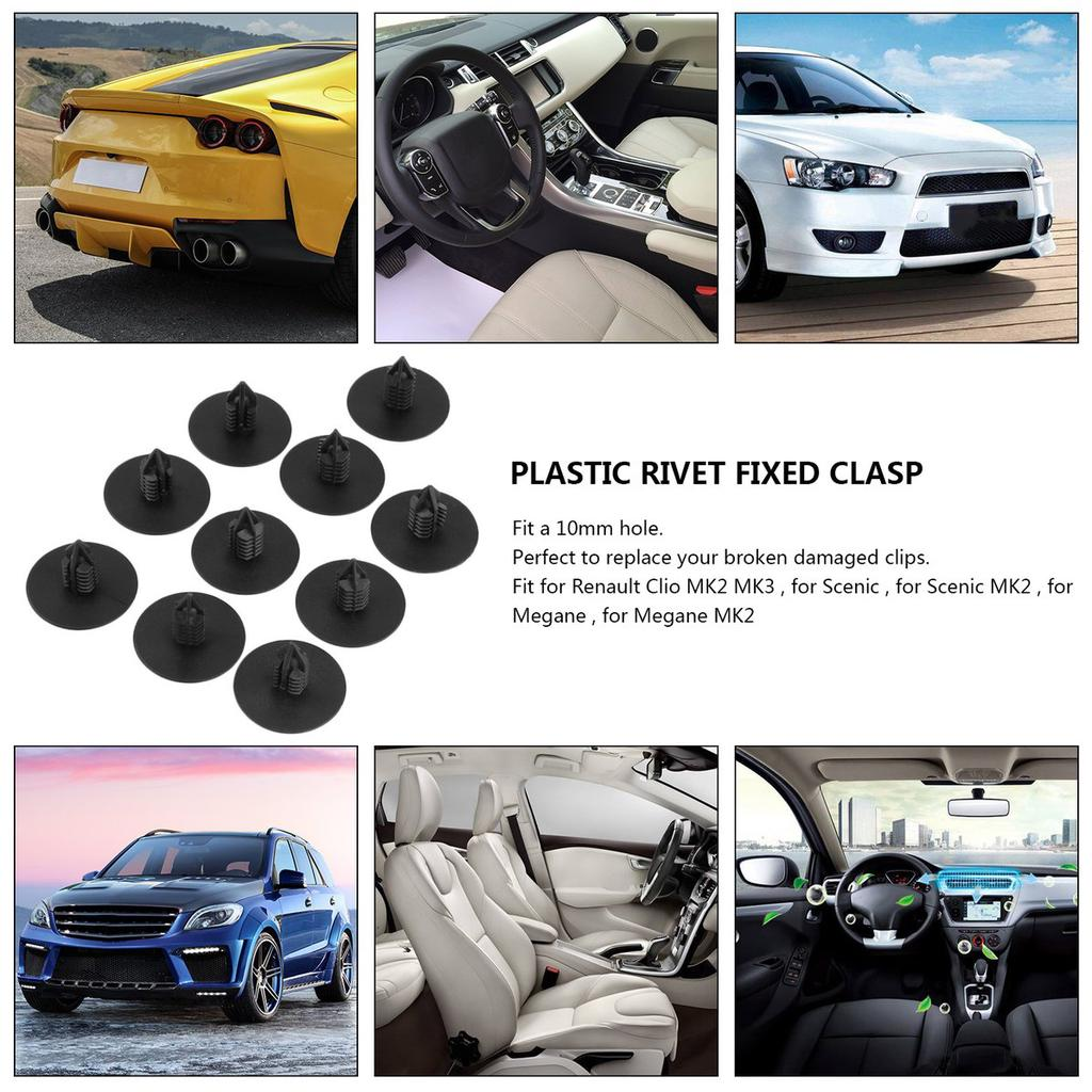 10Pcs RENAULT CAR WHEEL ARCH COVER FASTENER BLACK CLIPS