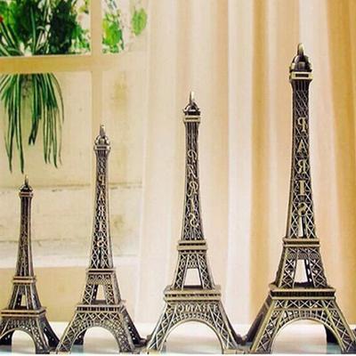 Bronze Tone Paris Eiffel Tower Figurine Statue Model Home Decor