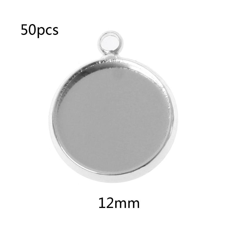 12pcs 12mm Charm Hollow Round Pendant Base Setting Cabochon Pendant Blank Trays