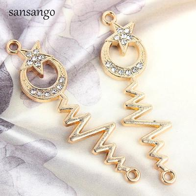 10pcs Flower Star Earring Connector Charms for Bracelet Necklace Pendant Gold
