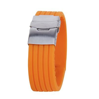 02c27c3c515 22mm Waterproof Soft Silicone Watch Band Strap with Stainless Steel Clasp  Buckle (Orange)