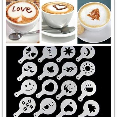 16Pcs Coffee Latte Art Stencils DIY Decorating Cake Cappuccino Foam Tool