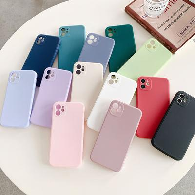 Square Straight Edge Solid Candy Color Phone Case for iPhone 12 11 Pro Max X XR XS Max 6 7 8 Plus TPU Silicone Skin Feel Touch Back Phone Cover Case
