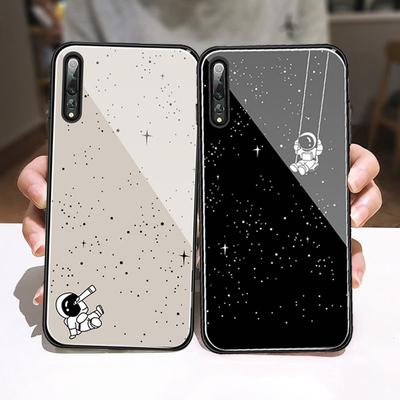 Luxury Glossy Tempered Glass Phone Case Plating Slim Shockproof Couple Case Cover for iPhone Huawei Xiaomi Samsung