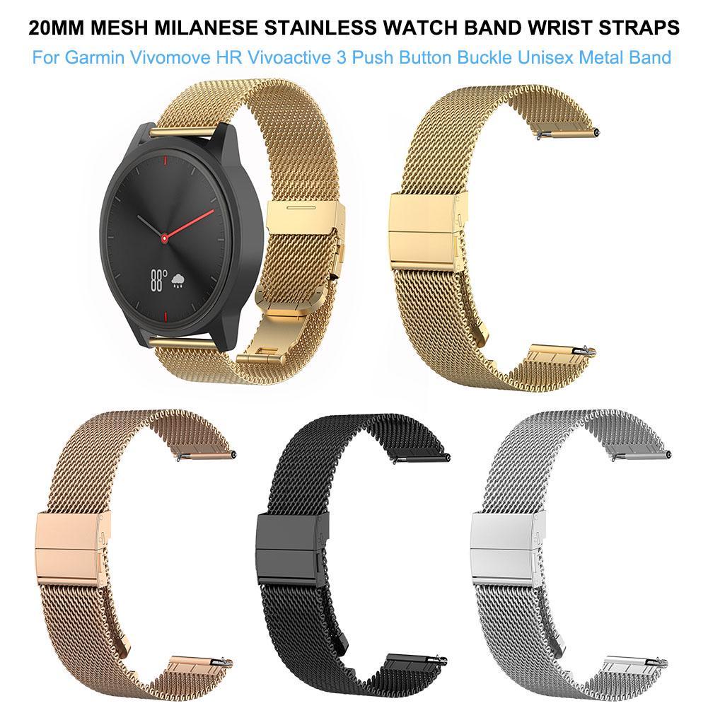Für Garmin Vivoactive 3 Band 20mm Milanese Loop Edelstahlband Armband Schwarz