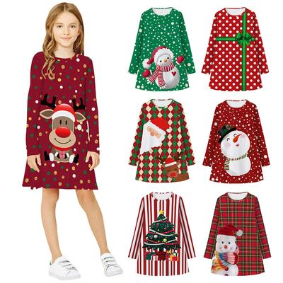 IILOOK Toddler Child Baby Girl Santa Claus one Shoulder Waist Elegant Print Princess Dress Christmas Clothes Clothes
